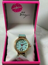 Betsey Johnson Pale Aqua Blue Crocodile Bling Watch 36 mm NIB $85.00