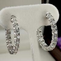 14k White Gold 1.00 Ct Round Cut In Side & Out Side Diamond Hoop Earrings
