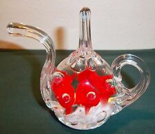"ST CLAIR TEA POT PAPER WEIGHT OR RING HOLDER. EXCELLENT 1982 4 1/4"" X 4 1/2"""