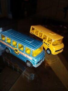 """Corgi Juniors / Mercedes Benz School Bus x2/ Blue & Yellow """"SCHOOL BUS"""". V GOOD"""