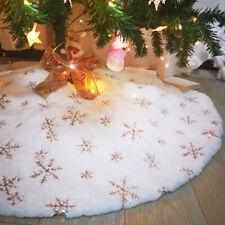Christmas Tree Skirt White Luxury Faux Fur Snowflakes Xmas Tree Skirt Mat Decor