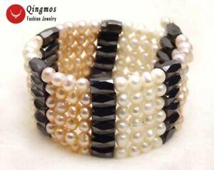 5-6mm Round Pink White Natural Pearl Bracelet for Women Black Hematite Long 38''
