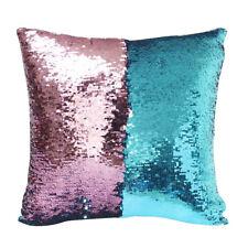 """16"""" Mermaid Pillow Case Reversible Sequin Glitter Sofa Waist Throw Cushion Cover"""