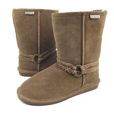 Bearpaw Adele Womens 10 Tan Suede Sheepskin Wool Lining Braid Harness Boots EUC