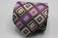 XMI Platinum Silk Tie. Purple w Brown & Blue Geometric.