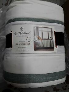 """Hearth and Hand with Magnolia Textured Stripe Quilt Twin 100% Cotton 68"""" x 88"""""""