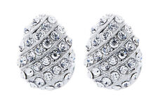 CLIP ON EARRINGS - silver stud earring with clear crystal bands - Vivian