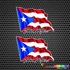 2x PUERTO RICO WAVING FLAG VINYL CAR STICKERS DECALS