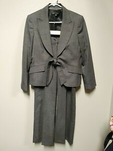 ANNE KLEIN Taupe Wool Blend Wide Leg Pant Suit 14P