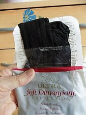 SILKIES ULTRA SOFT DIMENSIONS LACY HI CUT PANTY TIGHTS SIZE LARGE JET BLACK