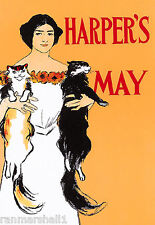 1897 Cat Woman Harper's Cover American Nouveau Travel Advertisement Art Poster