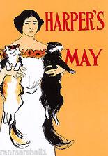 1897 Cat Woman Harper's Cover American Nouveau Travel Advertisement Art Poster