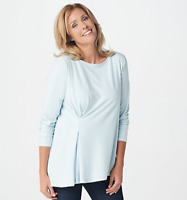 Elizabeth & Clarke Knit Cinched Waist Long-Sleeve Top with StainTech - Pale Blue