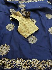 Navy Blue Soft Silk Saree Designer Blouse & Fall Stitched Size 34- 40