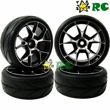 4pcs RC 1/10 On Road Tires & Aluminum Wheel Rims Hex 12mm For 1:10 Touring Car