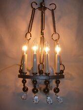 Vintage HART ASSOCIATES~Textured METAL Sculptural Brass SCONCE WALL LAMP-4 Light