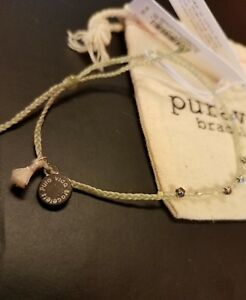 Pura vida silver bead and braid  bracelet