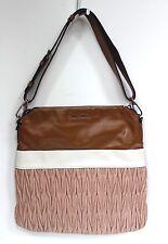 Miu Miu Brown Pink Maltese Two Tone Leather Satchel Bag