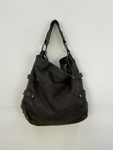 Isabella Fiore Brown Leather Stud & Chain Snap Closure Womens Shoulder Tote Bag