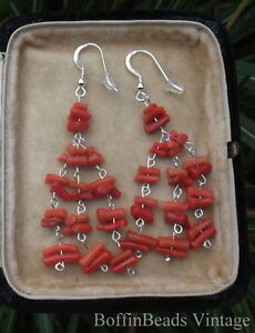 Coral tassel EARRINGS - long antique vintage natural salmon twigs branch  silver