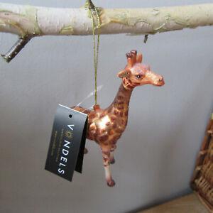 Vondels - Glass Shaped Christmas Ornament - Gold/Brown Giraffe -  H13cm.