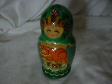 Russian Nesting Dolls Girl With Cat Pattern All 3 In Great Shape Bxg