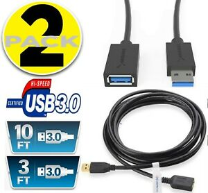 2 PACK USB 3.0 Extension Extender Cable Male A to Female A Powered Data Sync