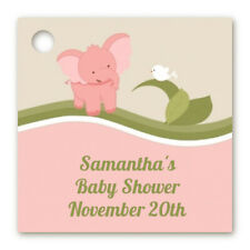Elephant Pink - Personalized Baby Shower Cardstock Favor Tags - Set of 20