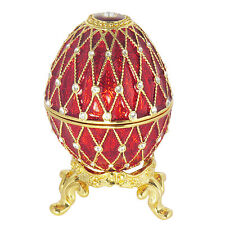 Burgundy Enamel Faberge Wedding Proposal Crystal Egg Trinket Box w/ Ring Insert