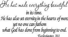 Ecclesiastes 3:11, Vinyl Wall Art, He Has Made Everything Beautiful Time, Set...