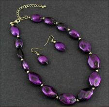 COWGIRL Metallic Brushed Purple Beads Necklace & Earring Set