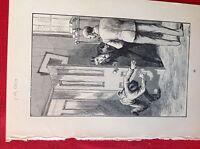 A1e ephemera old undated book plate boy falls into room