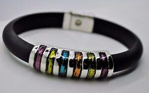 B417  Urbanity  design Multi Enameled color  Flat Rubber fashion bracelet