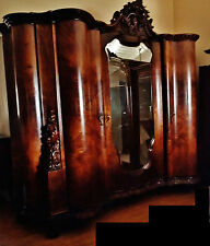 Gorgeous Very Large,Italian Walnut Burl, Antique Armoire Cabinet,Carved Pediment