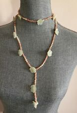 """Long freshwater pearls,Jade flowers & beads Designer necklace 28"""" 925 SS New"""