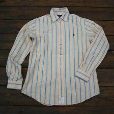 Mens Polo Ralph Lauren Long Sleeve Custom Fit Cotton Oxford Shirt white navy M L