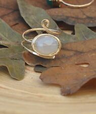 Light Blue Chalcedony Gold Filled Wire Wrapped Hammered Ring
