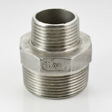 "Hex Nipple 1-1/2"" x 1"" Male Stainless Steel 304 Thread Reducer Pipe Fitting"