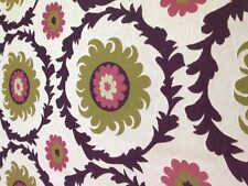 Suzani medallian fabric by the yard eggplant purple avacado green rose off whit