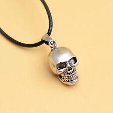 Men's Silver Stainless Steel Cross Skull Pendant Box Chain Biker Necklace Punk