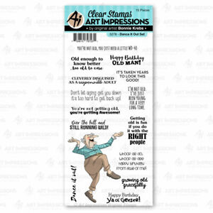Art Impressions DANCE IT OUT LAUGH LINES Clear Cling Stamp Set 5278 Humor