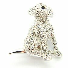 New Silver Tone Pave Austrian Crystal Puppy Dog Brooch in Gift Box