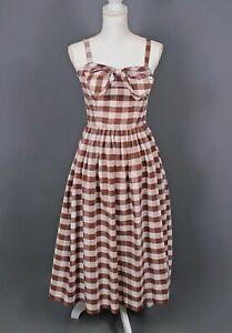 VTG Women's 50s Brown & White Gingham Sundress Sz S 1950s Summer Dress