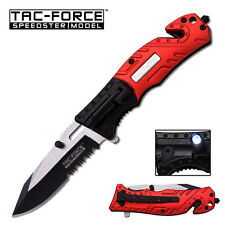 TAC FORCE Red FIRE FIGHTER Spring Assisted Open LED Tactical Rescue Pocket Knife