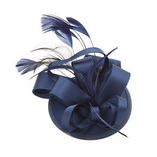 Women Feather Satin Fascinator HairClip Lady Cocktail Hat Topper Races Wedding W