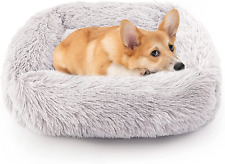Calming Dog Bed Washable Donut Cuddler, Fluffy Faux Fur Cushion Pet Bed Cozy Sof