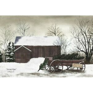 New Primitive Billy Jacobs CHRISTMAS TREE WAGON RED BARN Wall Hanging Picture