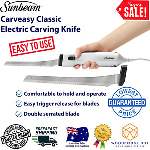 Sunbeam Electric Knife Meat Cutting Bread Carving Knives Ham Roast Easycarve New