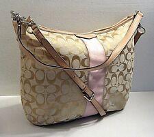 Coach F29941 Pink Stripe Tan Leather Trim Crossbody Satchel Shoulder Bag Purse
