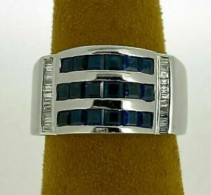 14K White Gold Three Row Engagement & Wedding Channel Set Ring 2.85 Ct Sapphire